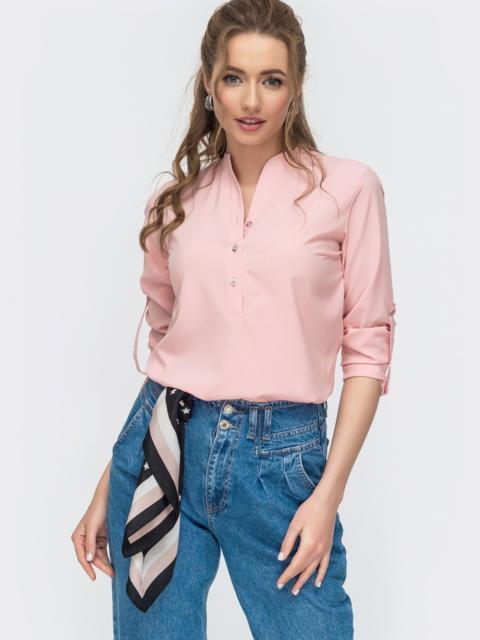 Розовая блузка свободного кроя из софта на пуговицах 46903, фото 1