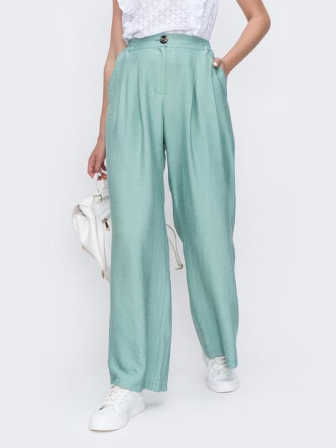 Широкие брюки из жатого льна с высокой посадкой мятные 49573, фото 1
