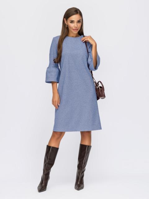 Синее платье прямого кроя с рукавом ¾ и воланом 55119, фото 1