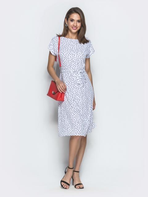 Белое платье в горох с резинкой по талии 39037, фото 1