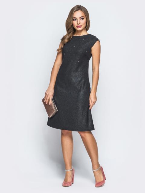 Платье из костюмной ткани с рукавами-крылышками черное 18065, фото 1