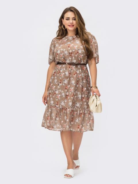 Бежевое платье-трапеция батал с принтом и рукавами из шифона 54231, фото 1
