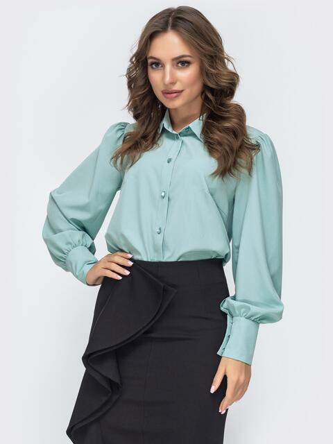 Блузка бирюзового цвета с объемными рукавами 45040, фото 1