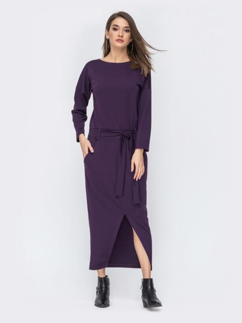 """Фиолетовое платье с рукавом """"летучая мышь"""" 44200, фото 1"""