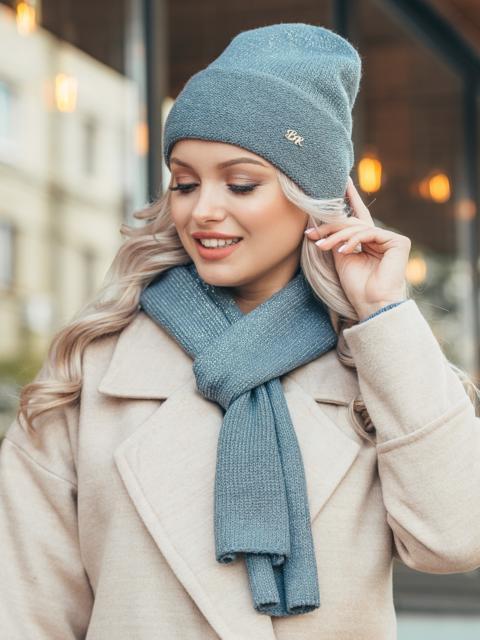 Графитный комплект из шарфа и шапки с нитью люрекса 50554, фото 1