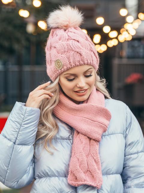 Розовый комплект с узором косичка из шапки с бубоном и шарфа 50553, фото 1