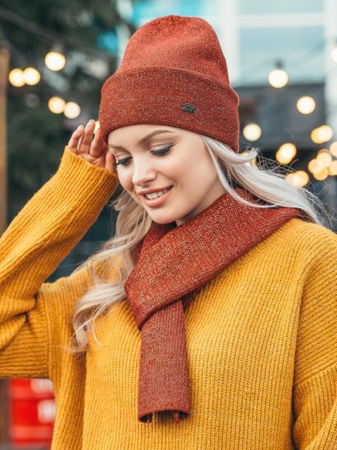 Терракотовый комплект из шарфа и шапки с нитью люрекса 50556, фото 1