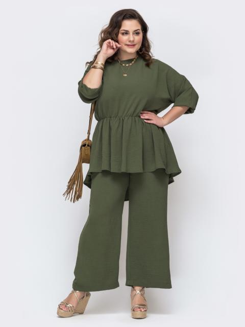 Комплект большого размера с туникой и брюками хаки 46068, фото 1