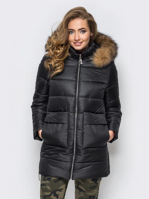 Зимняя куртка черного цвета с функциональными молниями по бокам 15252, фото 1
