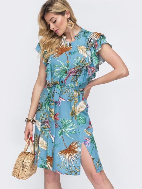"""Голубое платье с цветочным принтом и рукавом """"крылышко"""" 48259, фото 1"""