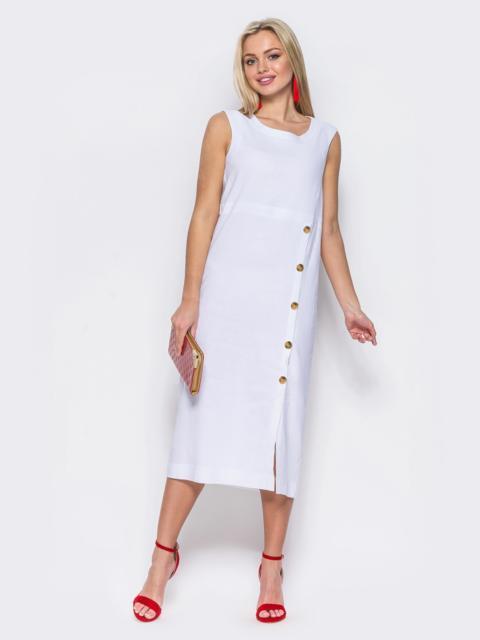 Платье приталенного кроя из льна белое 46765, фото 1