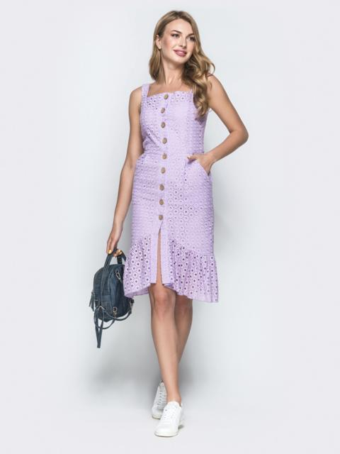 Сиреневое платье из прошвы с удлиненной спинкой 38704, фото 1