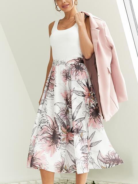 Шифоновая юбка-миди с цветочным принтом белая 54211, фото 1