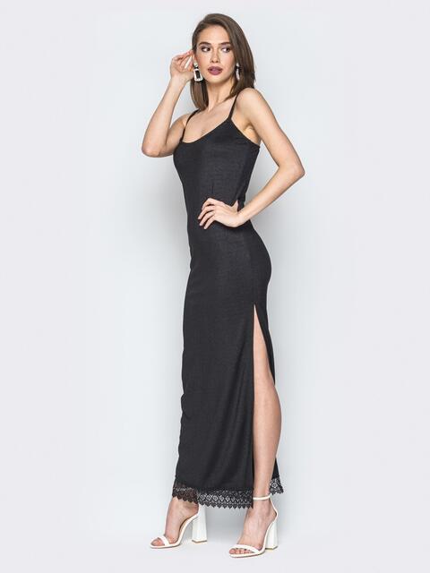 Чёрное платье на тонких бретелях с высоким разрезом 19643, фото 1