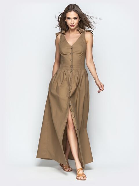 Коричневое платье-макси приталенного кроя на пуговицах 22196, фото 1