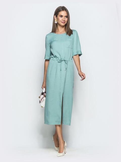 Бирюзовое платье из штапеля свободного кроя с кулиской по талии 39701, фото 1