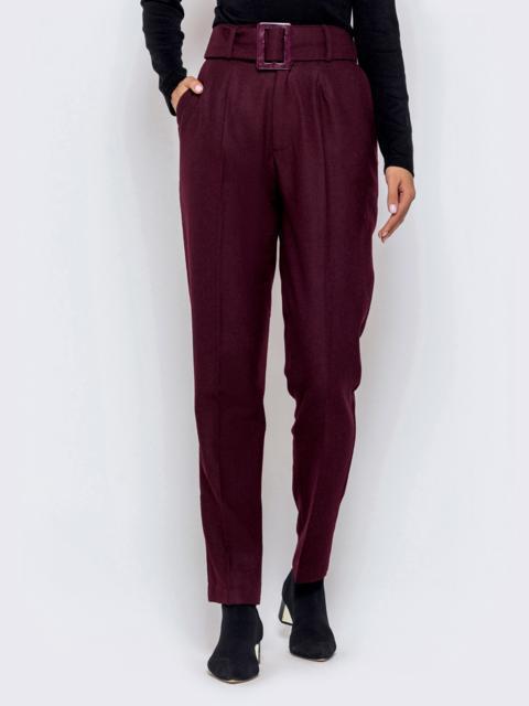 Бордовые брюки-каррот с широким поясом 40979, фото 1