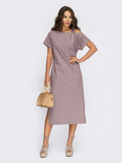 Прямое платье из льна с открытым плечом фиолетовое 54508, фото 1