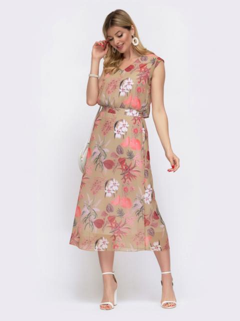 Бежевое платье в цветочный принт с открытой спинкой 48055, фото 1