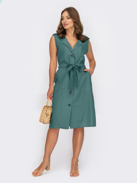Платье-рубашка зеленого цвета без рукавов 54263, фото 1