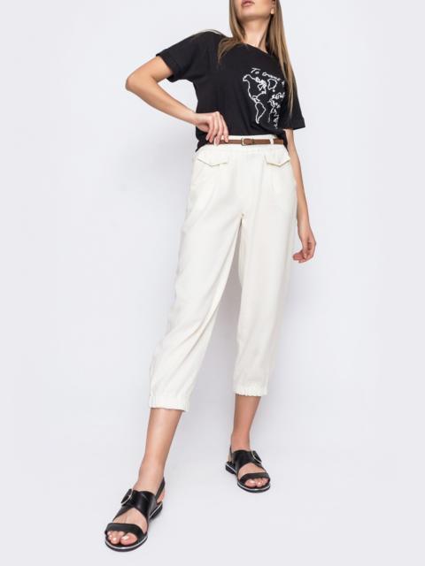 Укороченные брюки с завышенной талией молочного цвета  48437, фото 1