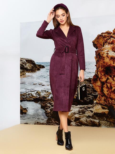 Бордовое платье на запах из замши с широкими лацканами 42196, фото 1
