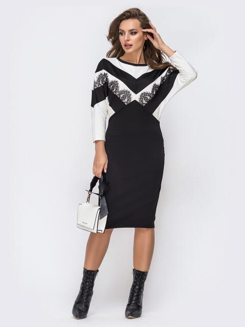 """Чёрное платье из французского трикотажа с рукавом """"летучая мышь"""" 42754, фото 1"""