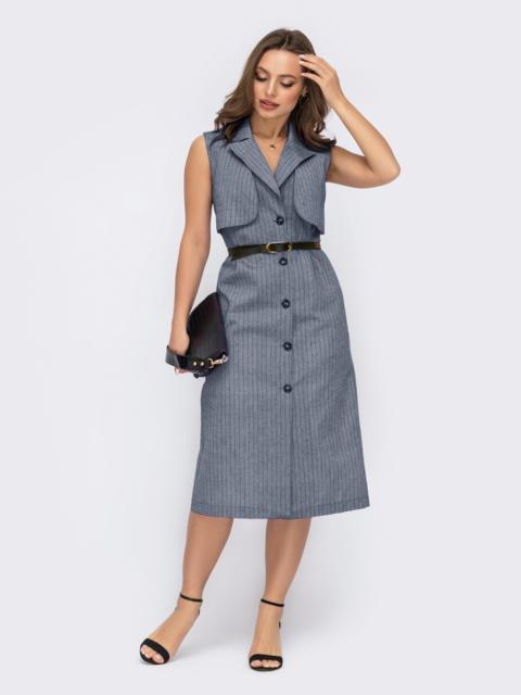 Льняное платье-пиджак в узкую полоску серое 54409, фото 1