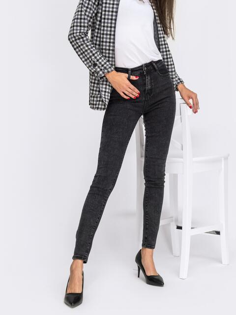 Обтягивающие джинсы черного цвета с завышенной талией 41934, фото 1