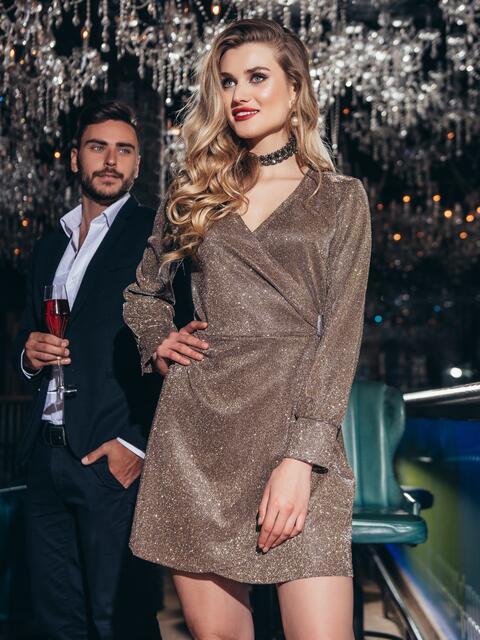 Платье на запах из люрекса с поясом в комплекте коричневое 42750, фото 1