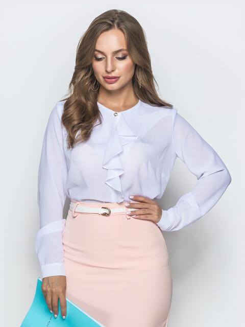 Белая блузка из креп-шифона с оборкой 39840, фото 1