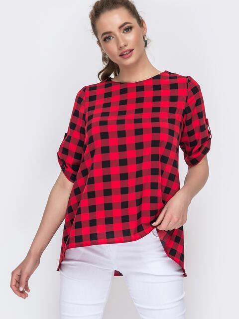 Красная блузка свободного кроя в клетку 46793, фото 1