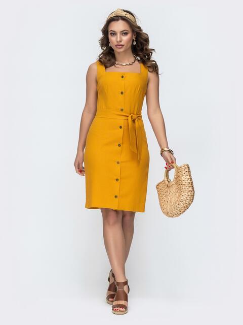 Льнянное платье на широких бретелях желтое 46704, фото 1