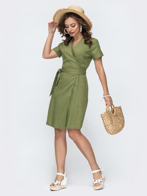 Льняное платье на запах с рюшей по вырезу хаки 46691, фото 1