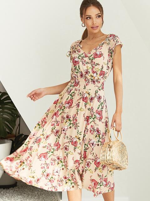 Платье с цветочным принтом и фигурным вырезом бежевое 54142, фото 1