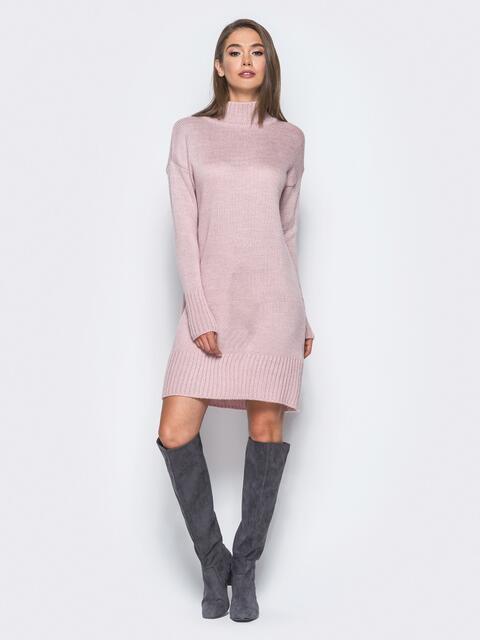 Вязаное платье свободного кроя с широким воротником розовое 13168, фото 4