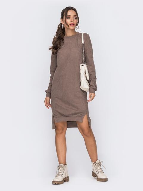 Бежевое платье из замши с удлиненной спинкой 50973, фото 1