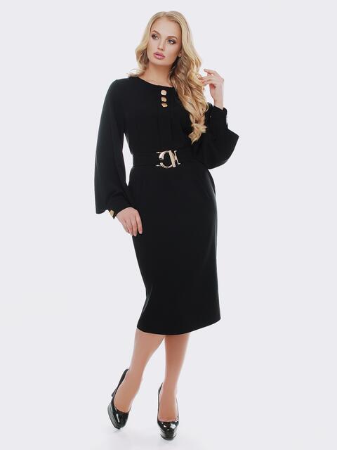 Черное платье с расклешенными рукавами 19115, фото 1