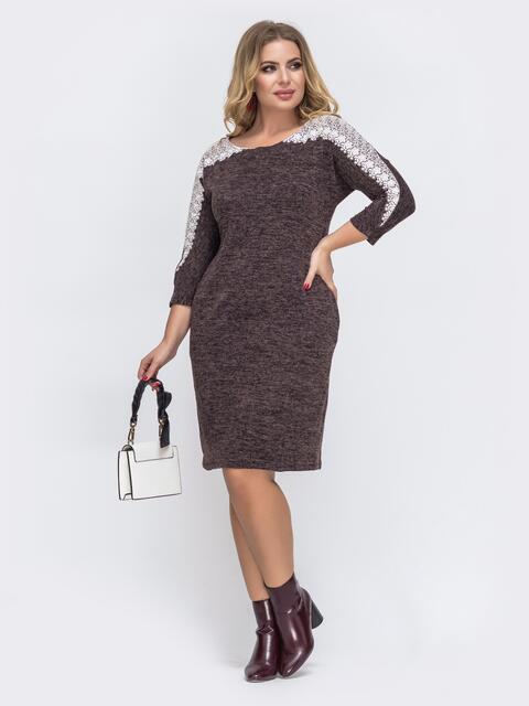 Платье батал с ажурным кружевом коричневое 43374, фото 1