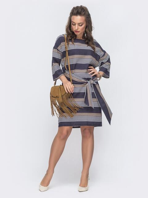 Платье свободного кроя в плоску синее 46756, фото 1