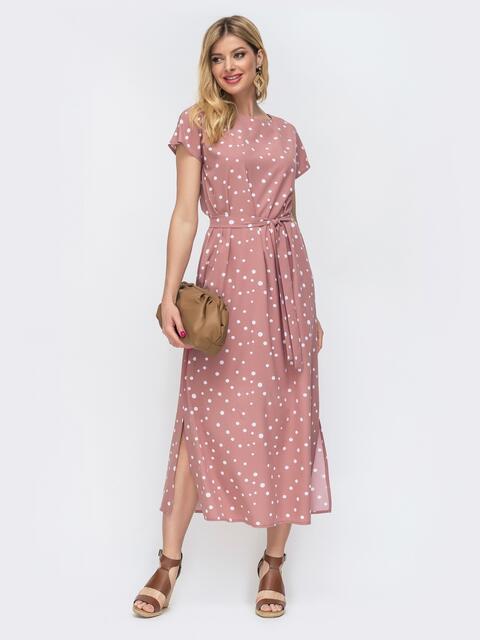 Прямое платье в горох с разрезами по бокам пудровое 46830, фото 1