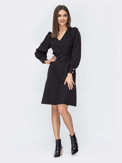 Чёрное платье с расклешенной юбкой 44206, фото 1