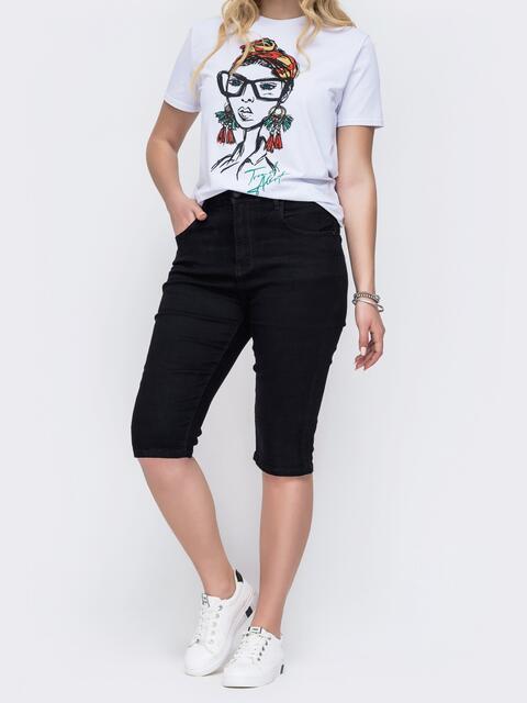 Черные джинсовые шорты батал облегающего кроя 49306, фото 1