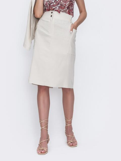 Льняная юбка прямого кроя бежевая 49182, фото 1