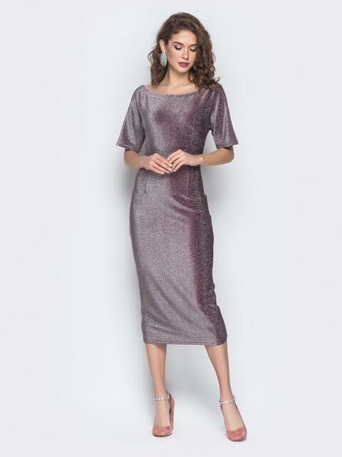 Бордовое платье с ложным запахом по спинке 18607, фото 1