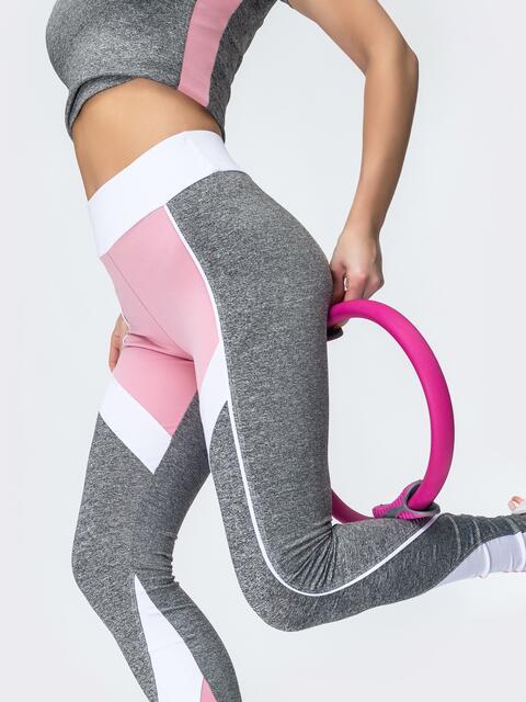 Лосины для фитнеса с контрастными вставками светло-серые 44630, фото 1