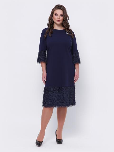 """Платье батал со вставками из ткани """"хвоя"""" тёмно-синее 44099, фото 1"""