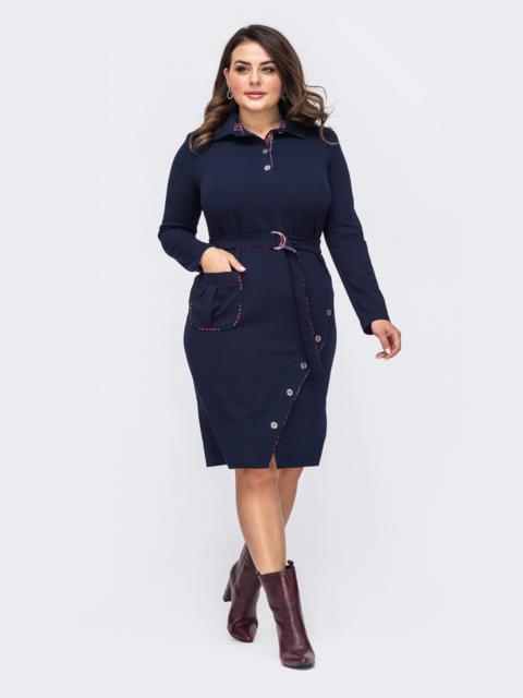 Тёмно-синее платье-рубашка большого размера 51517, фото 1