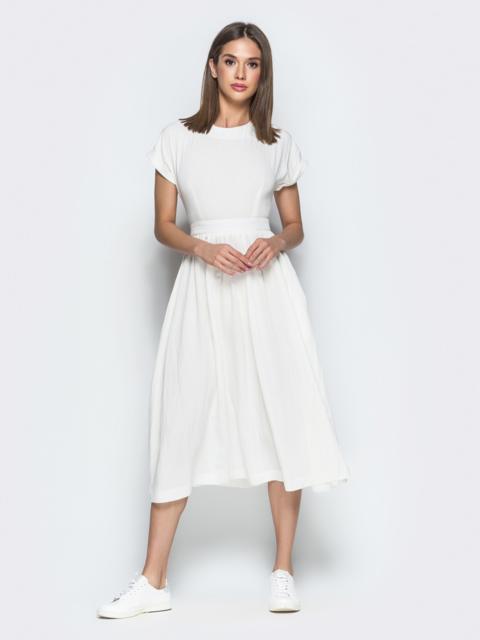 Белое платье из хлопка с вырезом по спине 38597, фото 1
