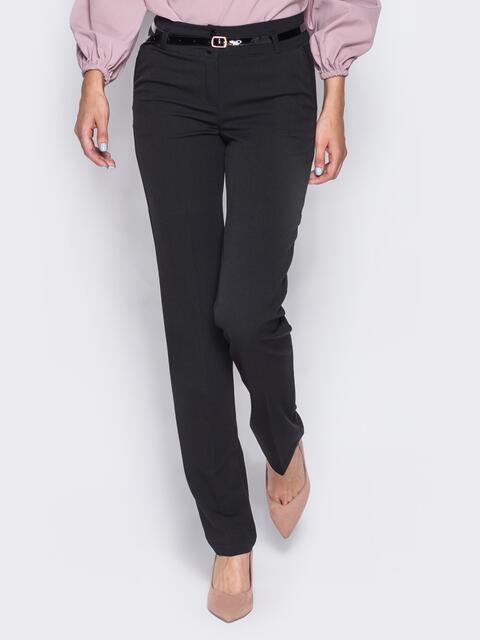 Брюки из костюмной ткани с карманами-обманками черные 23020, фото 1